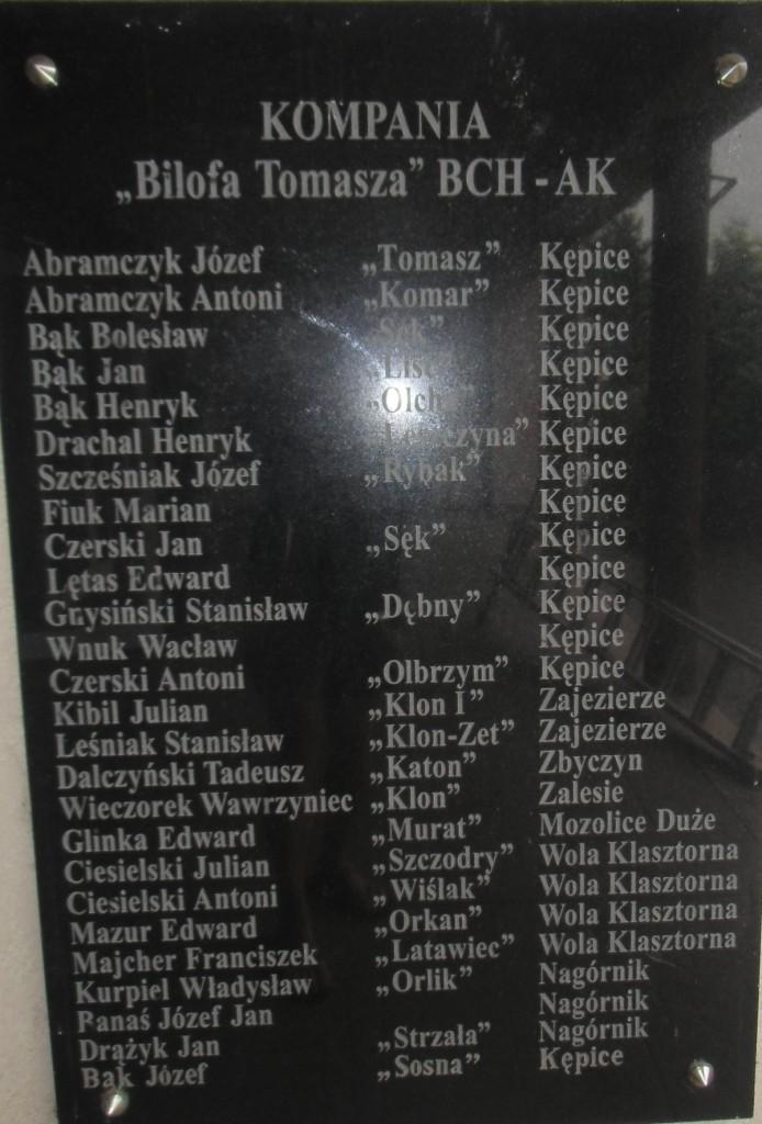 """Tablica upamiętniająca żołnierzy KOMPANII """"Bilofa Tomasza"""" BCH-AK umieszczona na ZPO w Sieciechowie"""